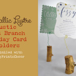 Metallic Lustre Wood Branch Holiday Card Holders
