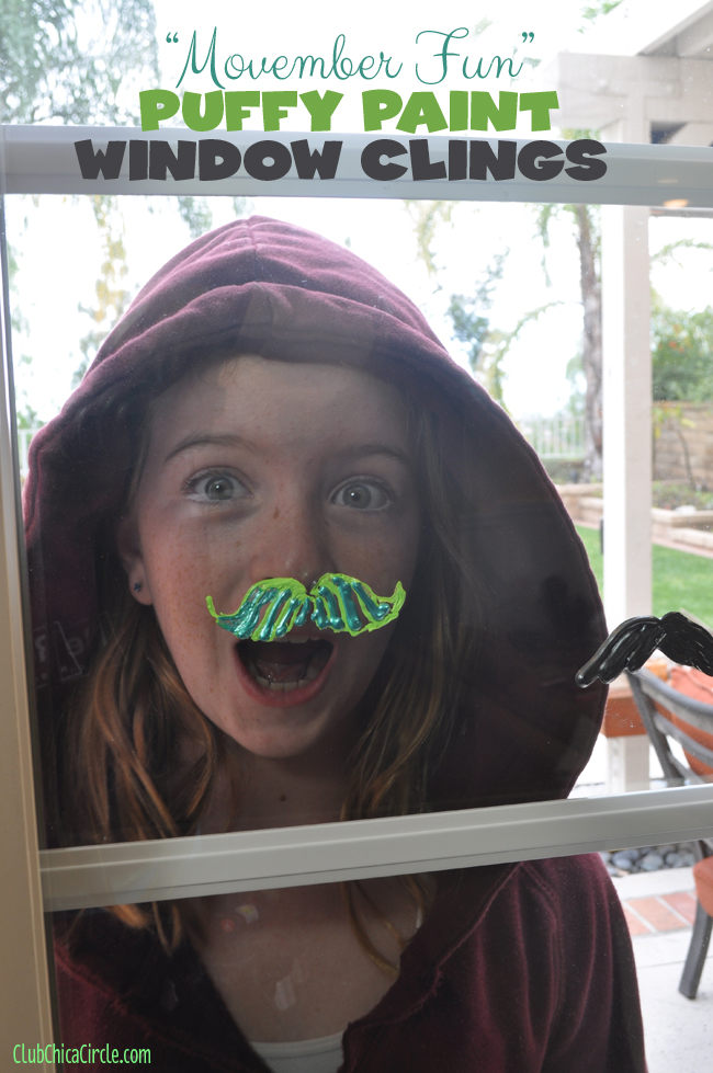 Movember puffy paint window clings