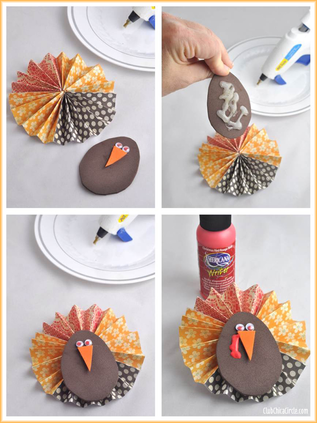 Paper Flower Thanksgiving Turkey Craft tutorial