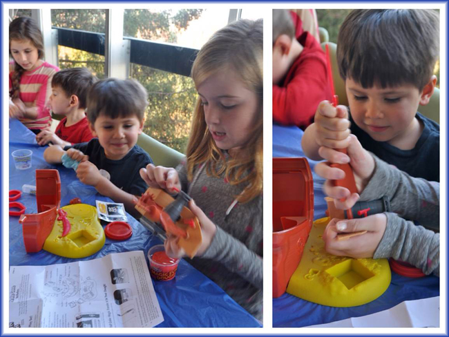 Putting together pirate cove magic fun dough set