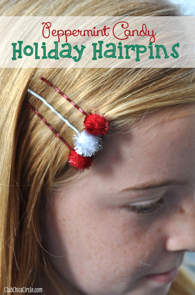 Homemade holiday hairpins gift idea holiday craft lightning for Crafts for tweens diy