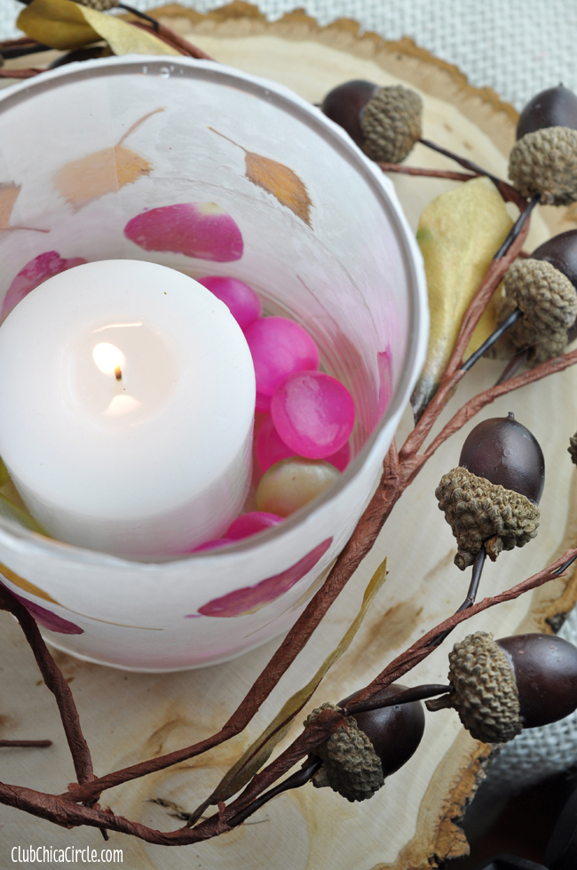 Leaf And Flower Petal Nature Wax Paper Votive Candle Holders