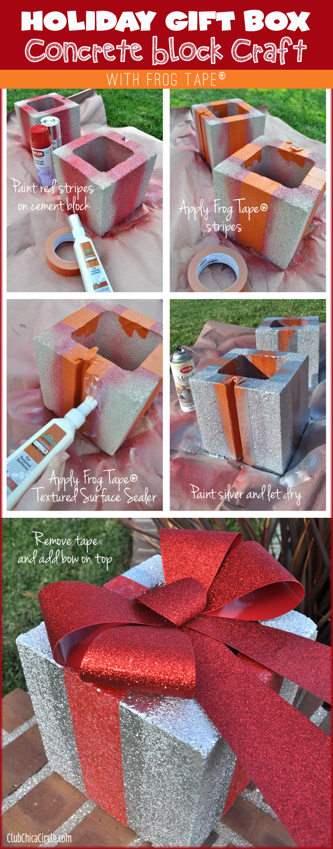 Cement Brick Holiday Gift Box Tutorial with Frog Tape®