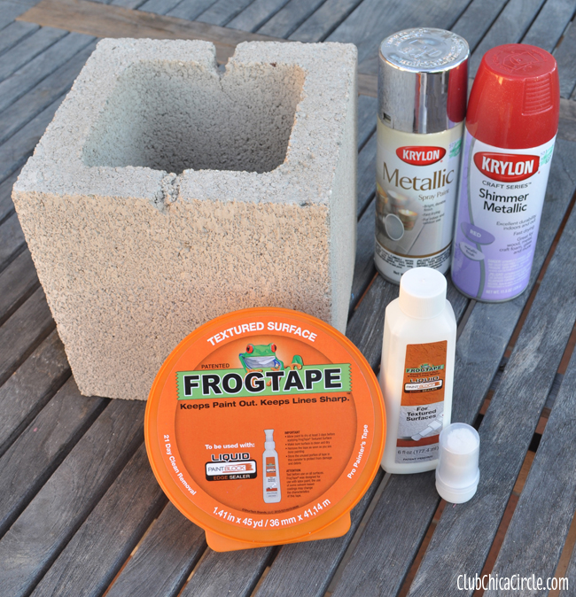 holiday gift box concrete block craft with frogtape. Black Bedroom Furniture Sets. Home Design Ideas
