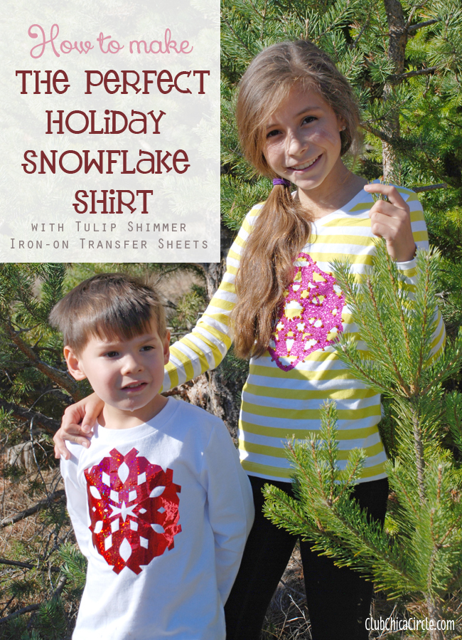 Glitter Snowflake Family Tee Shirt Craft Idea