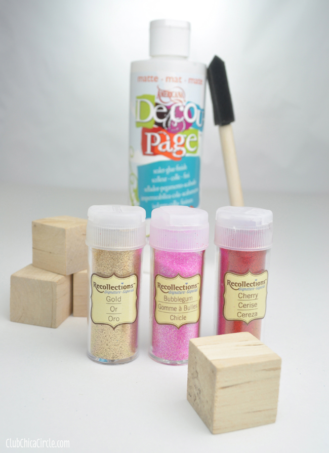 Glittery Wood Block Ornaments Craft supplies