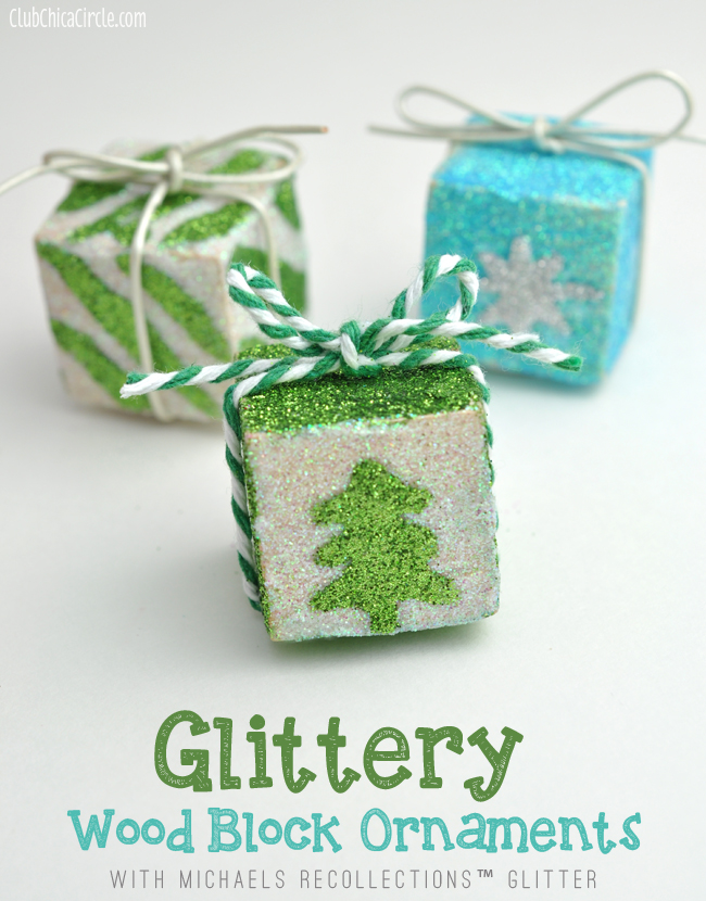 Glittery Wood Block Ornaments Holiday Craft Idea with Michaels Recollections