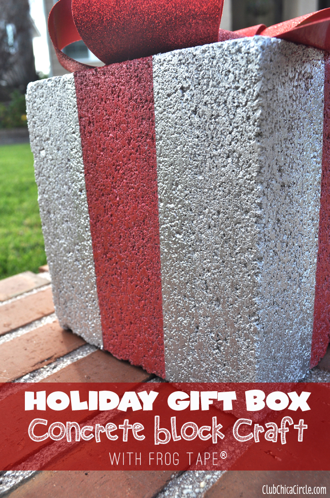 Holiday Gift Box Concrete Block Craft with Frog Tape