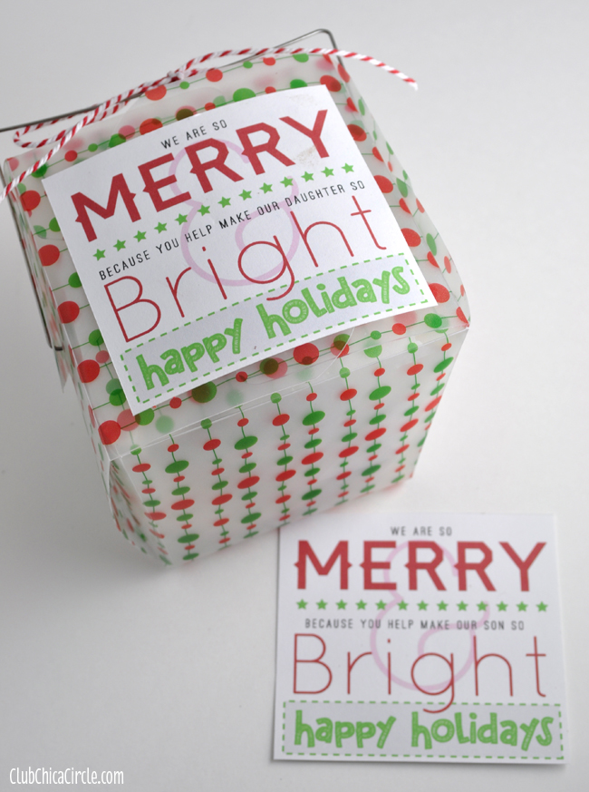 Merry & Bright Holiday Gift Tag Printables for Friends & Teachers