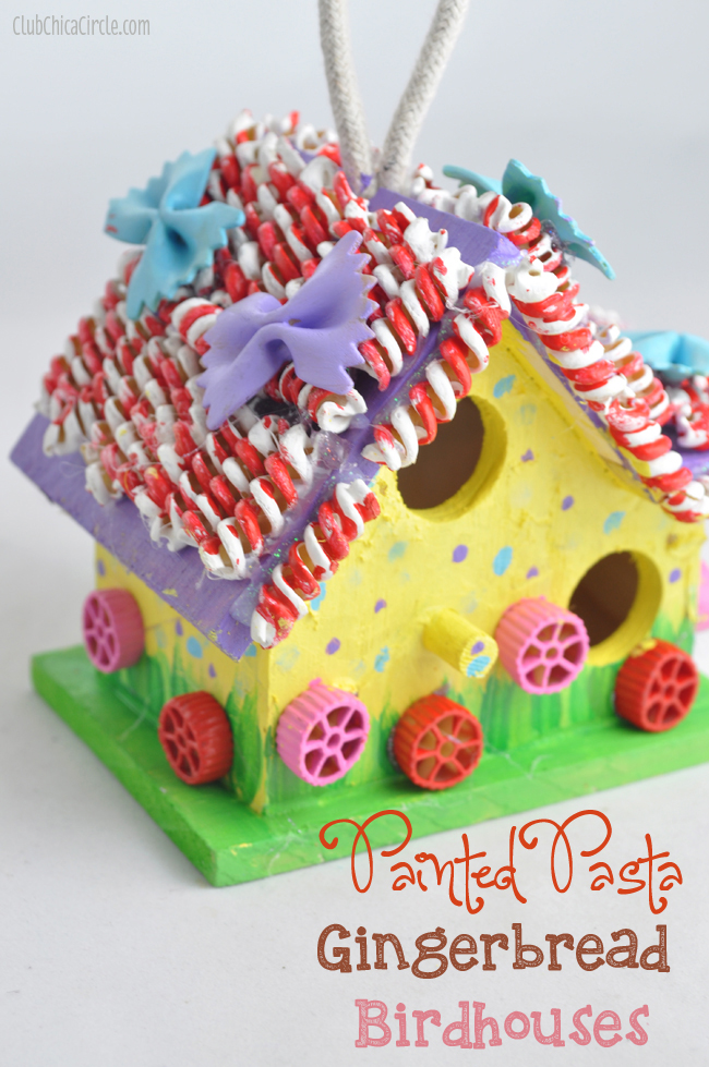 Painted Pasta Gingerbread Birdhouse Holiday Tween Craft