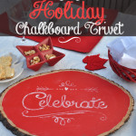 Rustic Wood Holiday Celebrate Chalkboard Trivet
