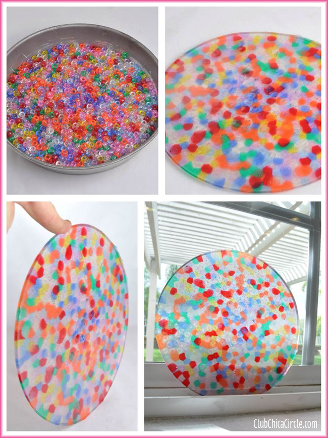 BBQ bead suncatcher in cake tin DIY