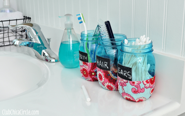 Bathroom Organizer Mason Jars Tween craft @clubchicacircle