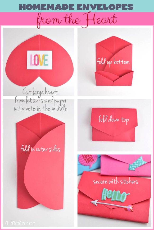How to make a homemade envelope with a heart shape for Easy things to make out of paper for kids
