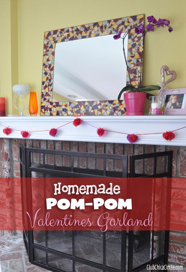 Heart Homemade Yarn Pom-pom garland Valentines decoration