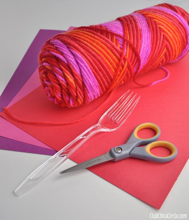 Heart Pom-pom Valentines garland supplies