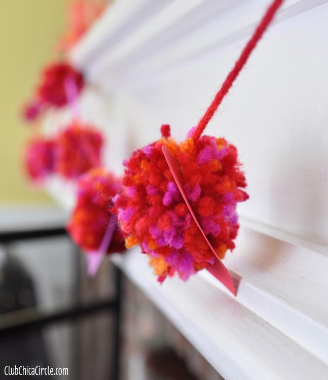 Heart Pom-pom garland for Valentines Craft