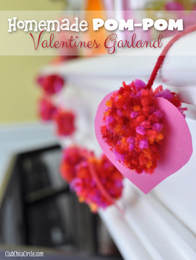 Homemade Heart Pom-pom Valentines garland craft idea