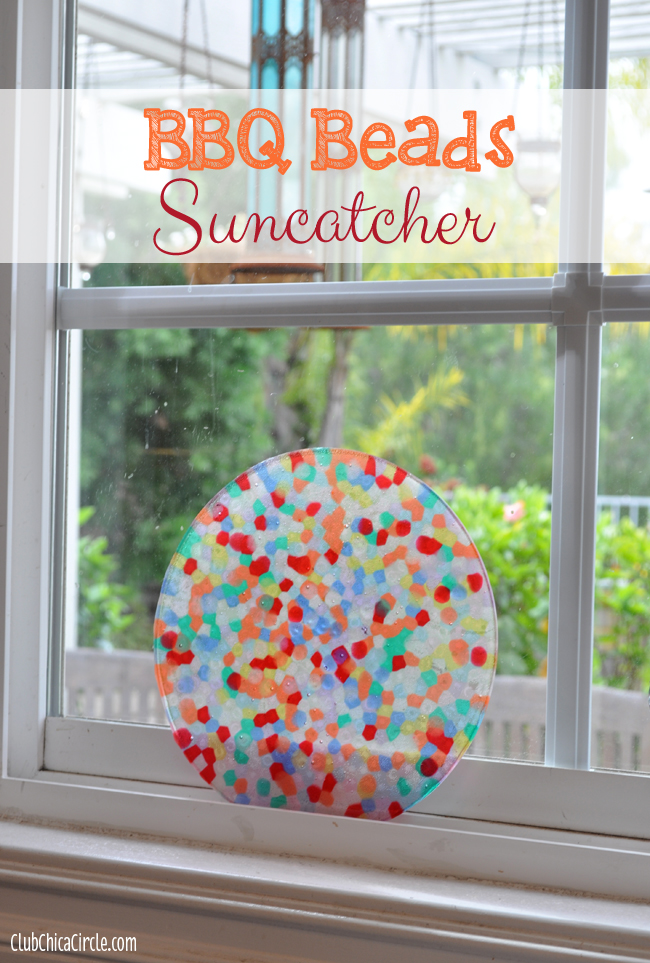 Melted Pony Beads on BBQ Suncatcher Tween Craft Idea