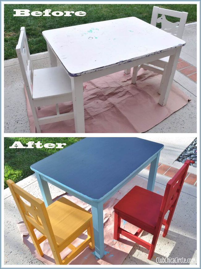 before and after DIY kids table