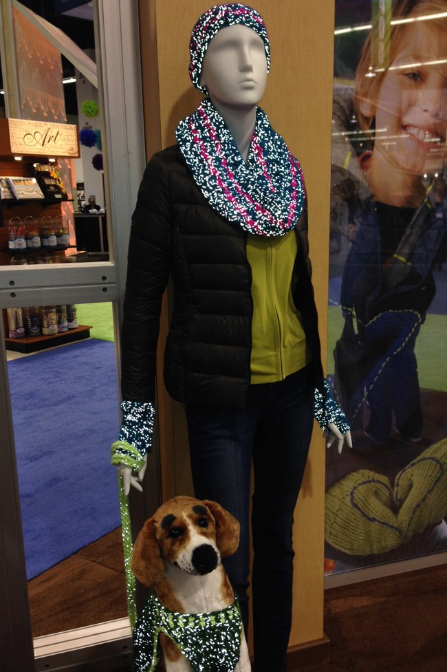 reflective yarn on scarf and dog sweater