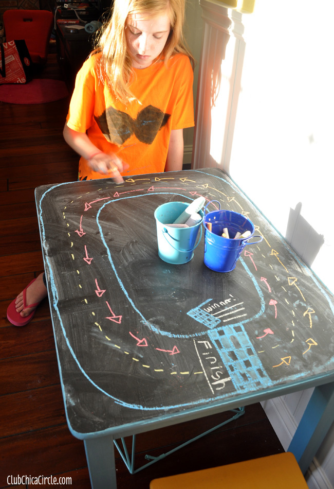 upcycled Chalkboard play table for tweens