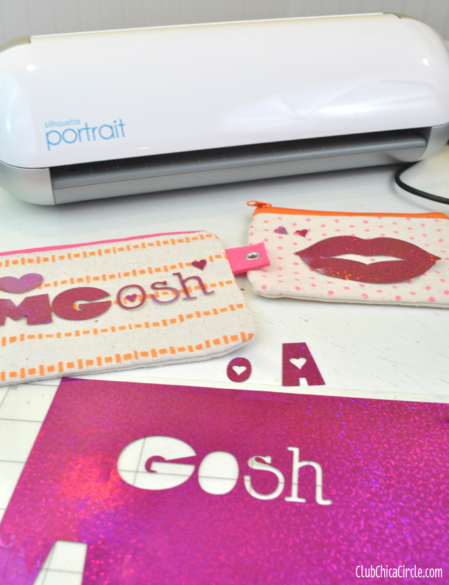 Personalized Pencil Pouch with Glitter Iron On and Silhouette
