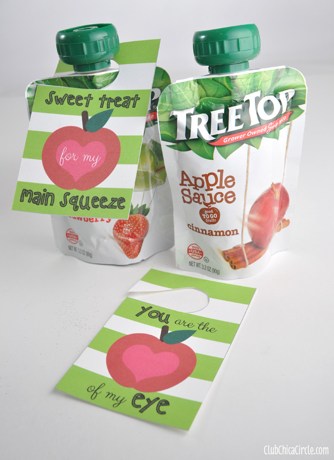 Tree Top Apple Sauce Pouches with Free Printable Gift tags