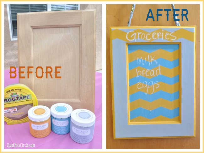 Upcycled Cabinet Door Chalk Memo Board before and after