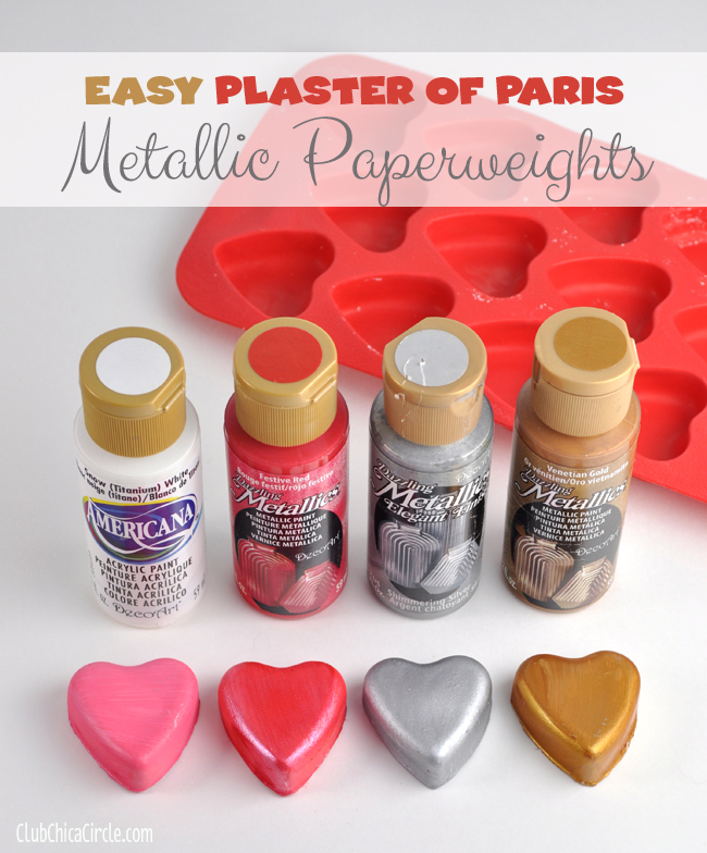 metallic painted homemade plaster of paris hearts