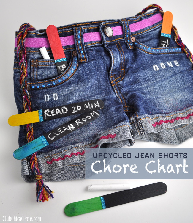 Denim Jean Shorts Upcycled into Chore Chart for Tweens