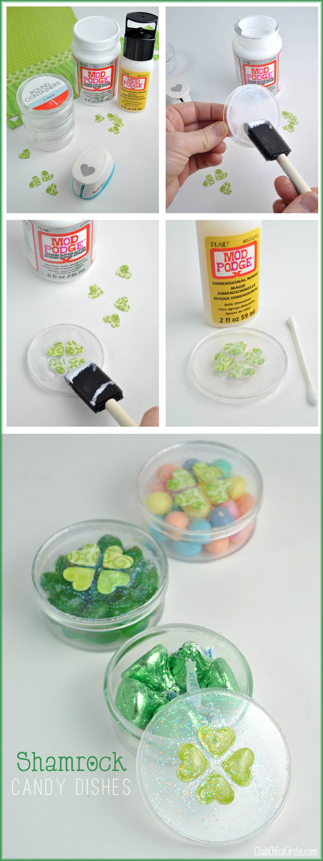 Easy shamrock candy dish craft idea with Mod Podge