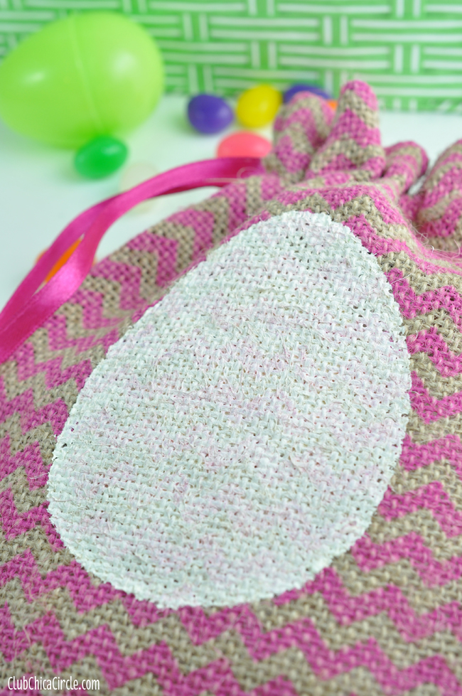 Egg stenciled burlap Easter gift bag craft idea