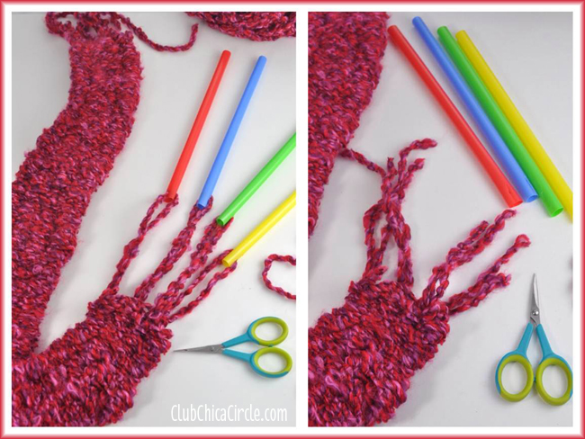 Finishing off your homemade straw knit scarf
