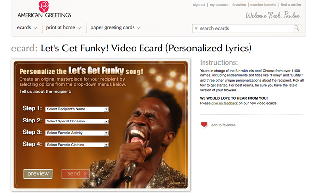 Funky Video Ecard personalization questions