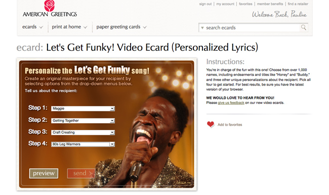 Funky Video Ecard personalization