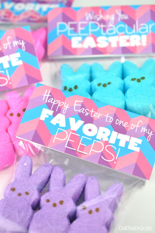 Happy Easter Peeps Treat Bags Gift Idea with Free printable