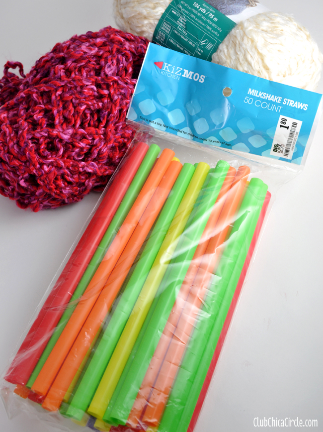 Knitting with big straws
