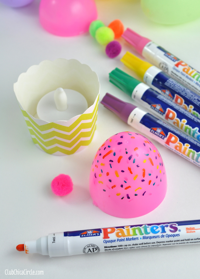 Plastic Egg Glowing Cupcake Craft idea step 1