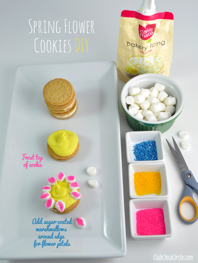 Spring Flower Marshmallow petal cookies DIY