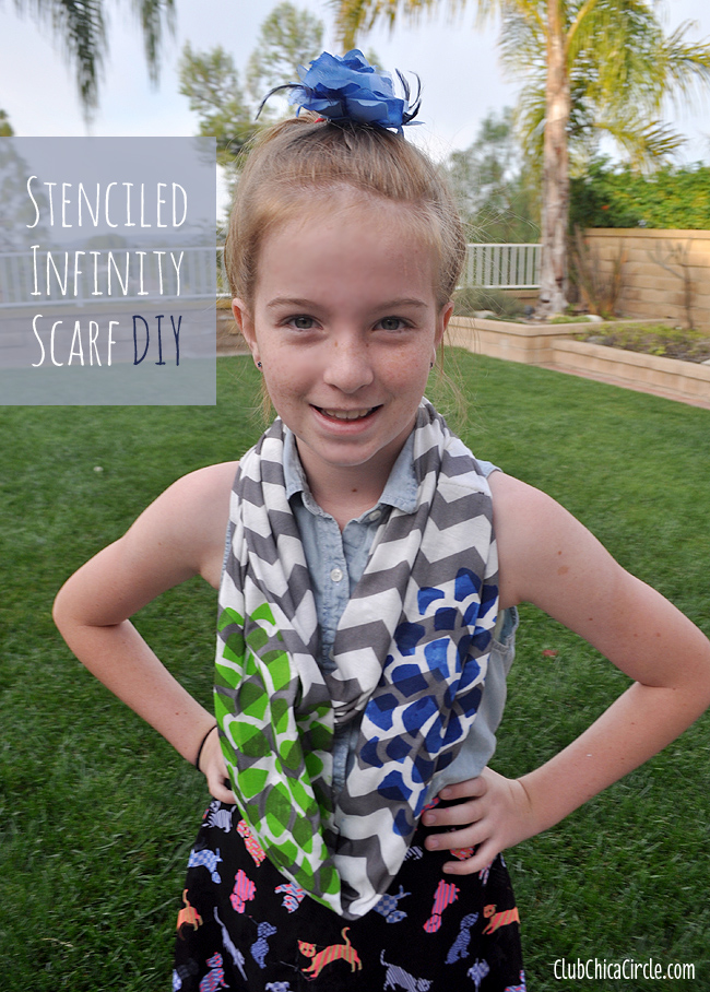 Stenciled Infinity scarf DIY with Folk Art and Stencil1