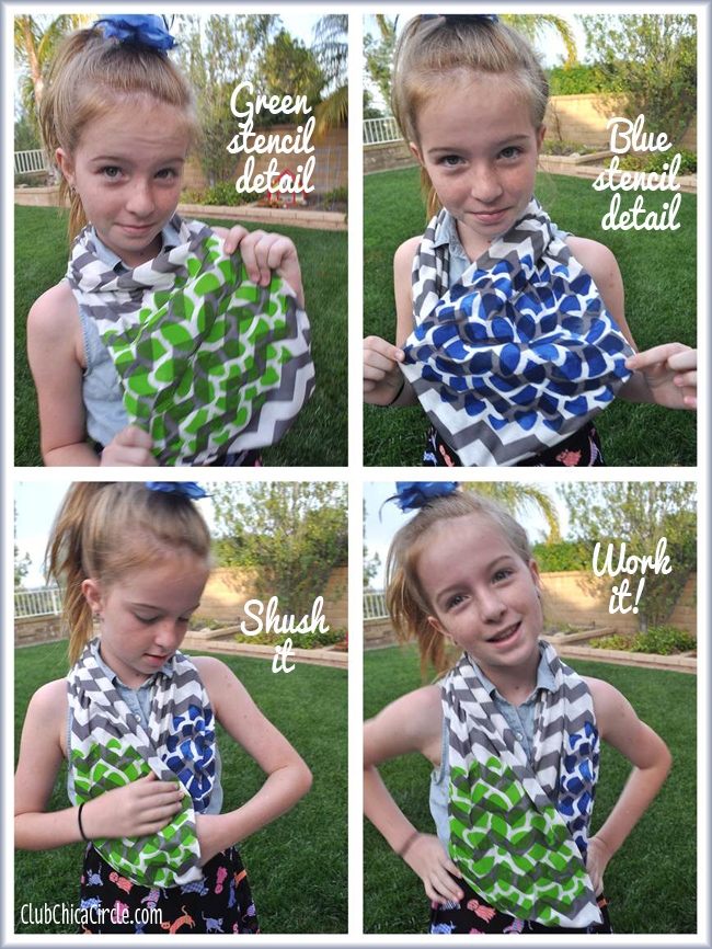 Tween fashion with stenciled homemade infinity scarf
