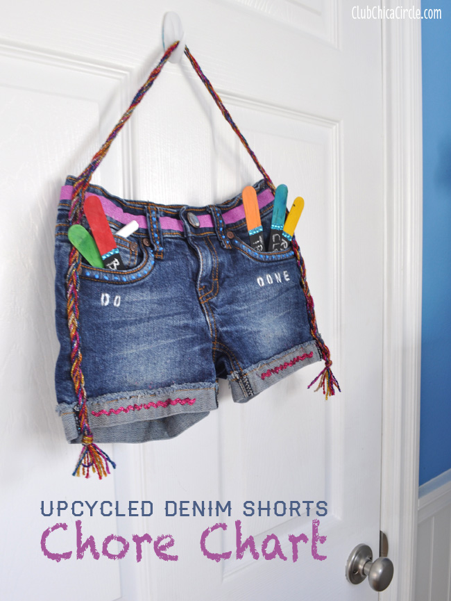 Upcycled Denim Shorts Tween Interactive Chore Chart Craft Idea
