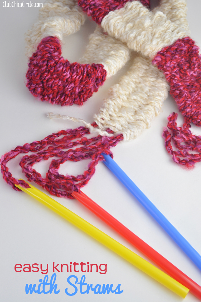 easy knitting DIY with big straws
