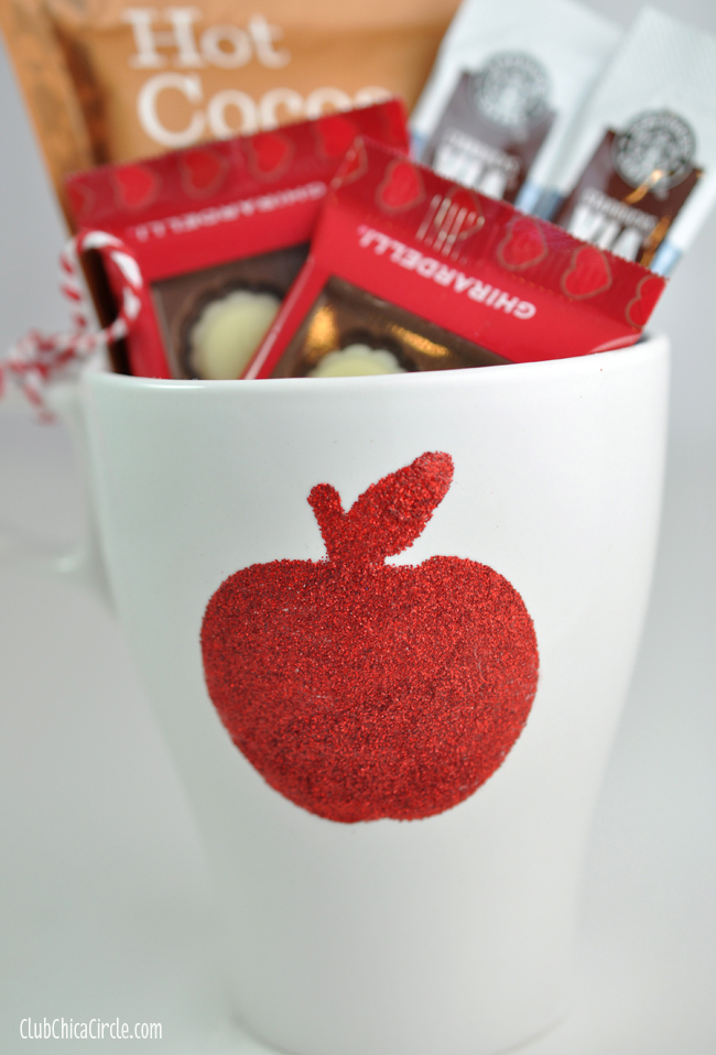 Apple coffee mug glittery craft and gift idea