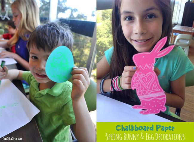 Chalkboard decorated Easter eggs and bunnies for Spring
