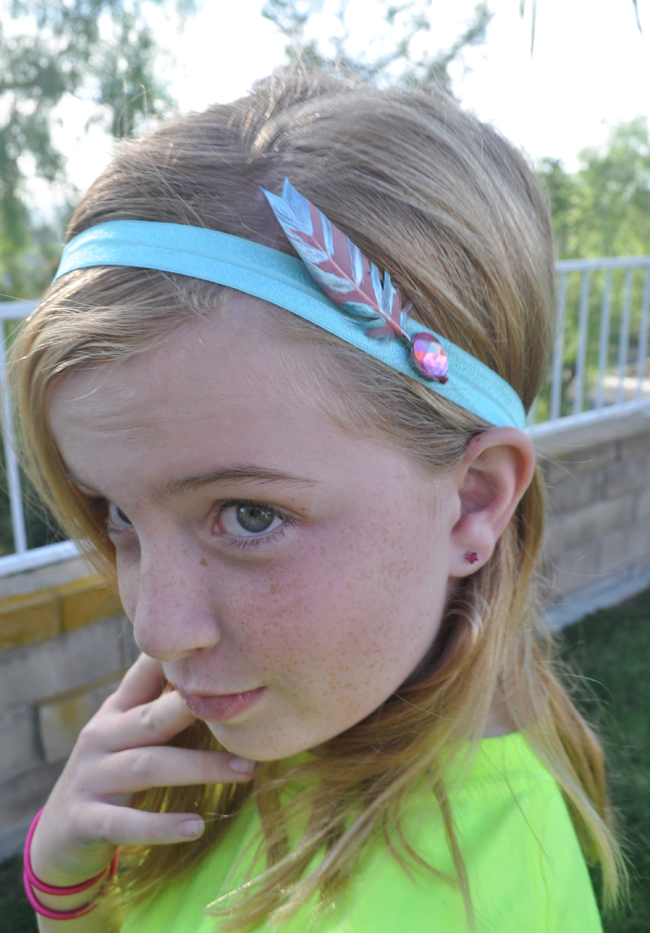 Metallic Paint Stamped Feather Headbands Diy Club Chica