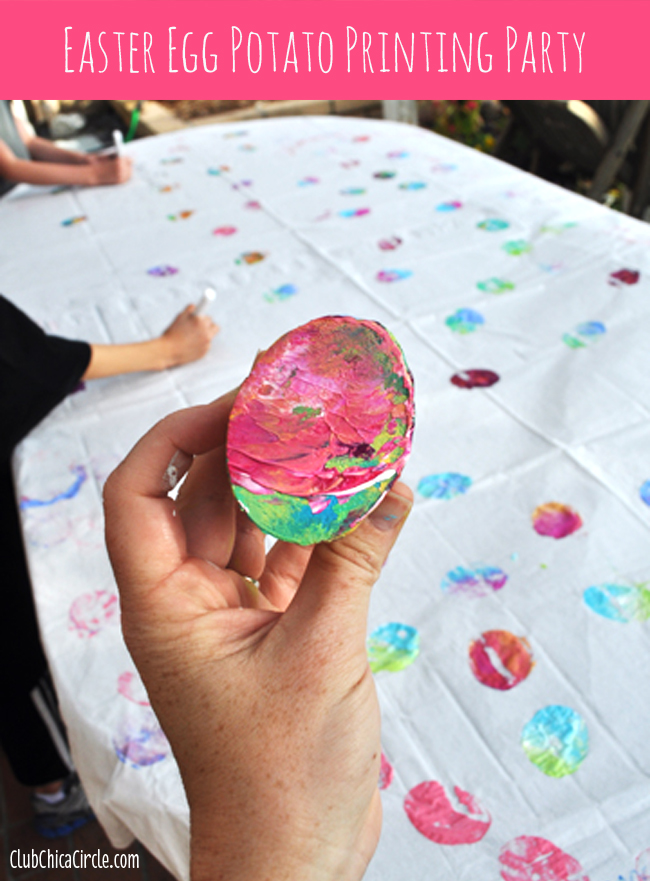 Easter Egg Potato Printing Party with kids