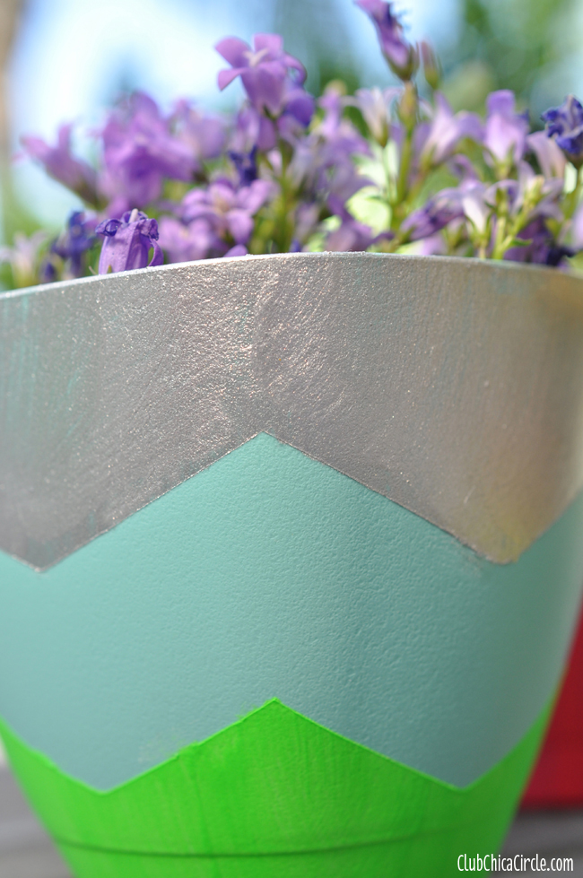 FrogTape Shape Tape Chevron Spring planters with chevron design