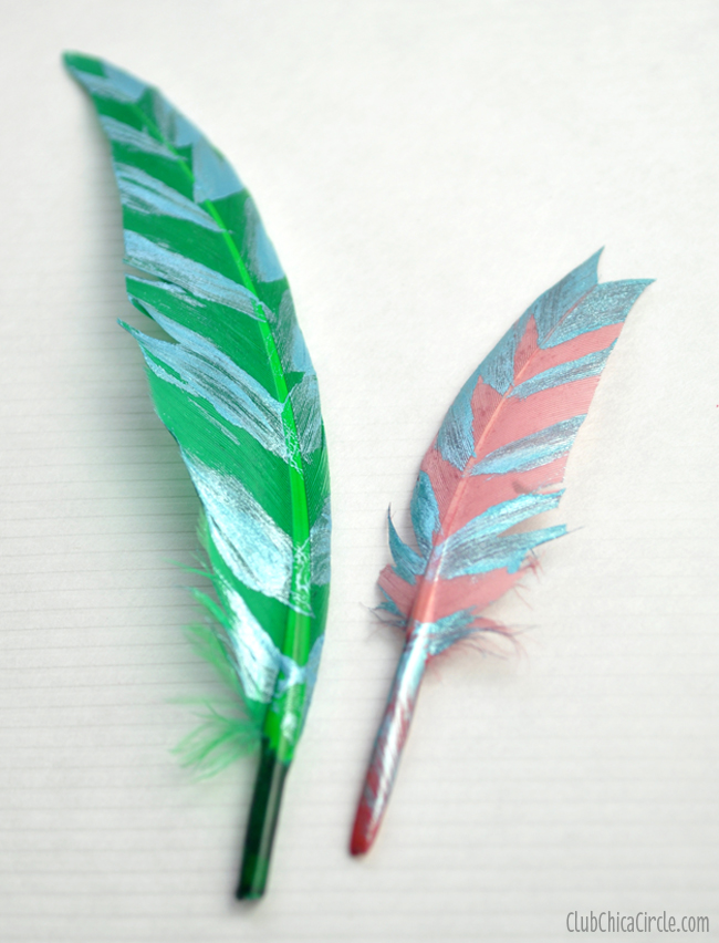 Metallic paint stamped feather headbands diy for Where can i buy feathers for crafts
